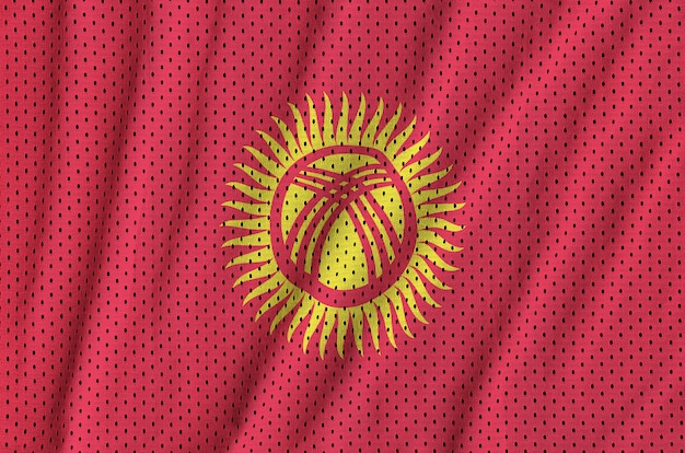 Flaga kirgistanu wydrukowana na nylonowej siatce odzieży sportowej z poliestru