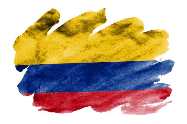 Flaga kolumbii jest przedstawiona w płynnym stylu akwareli na białym tle