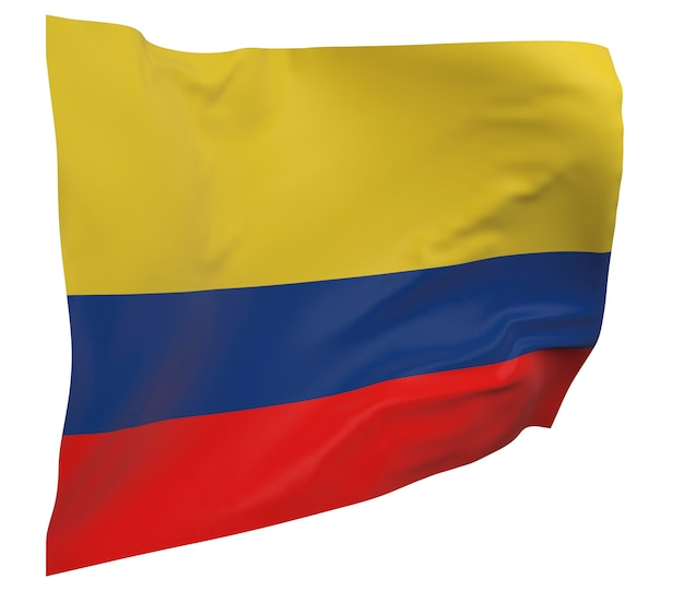Flaga kolumbii na białym tle. macha sztandarem. flaga narodowa kolumbii