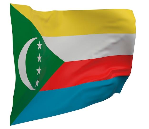 Flaga komorów na białym tle. macha sztandarem. flaga narodowa komorów