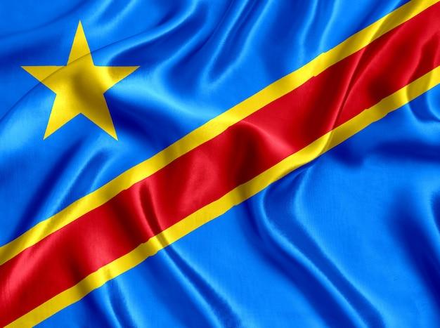 Flaga kongo jedwabiu szczegół tło