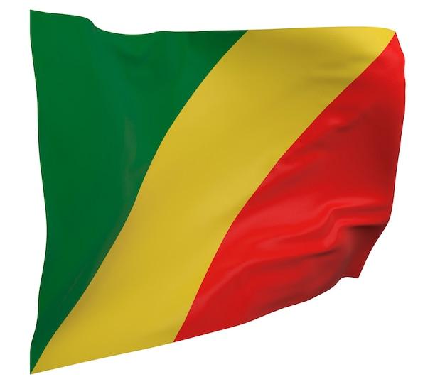 Flaga kongo na białym tle. macha sztandarem. flaga narodowa konga