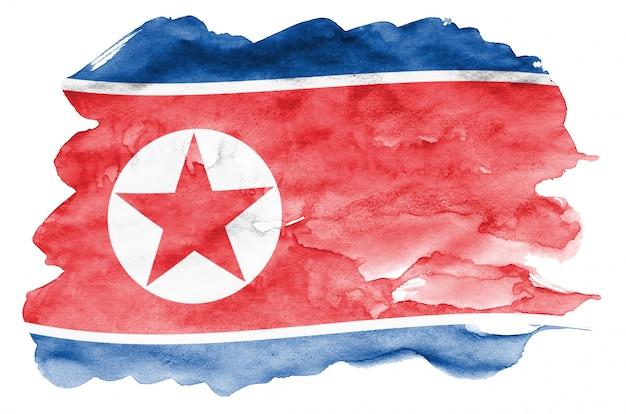 Flaga korei północnej jest przedstawiona w płynnym stylu akwareli na białym tle