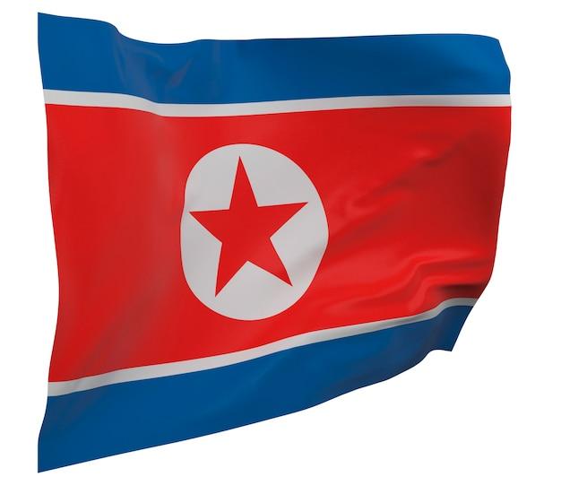 Flaga korei północnej na białym tle. macha sztandarem. flaga narodowa korei północnej