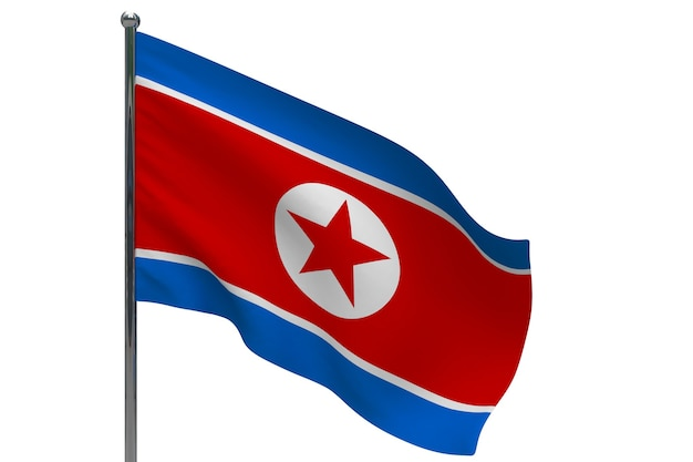 Flaga korei północnej na słupie. maszt metalowy. flaga narodowa korei północnej 3d ilustracja na białym tle