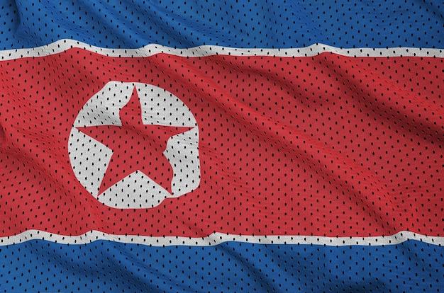 Flaga Korei Północnej Wydrukowana Na Nylonowej Siatce Z Tkaniny Sportowej Premium Zdjęcia