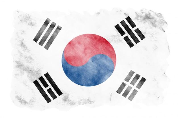 Flaga korei południowej jest przedstawiona w płynnym stylu akwareli na białym tle