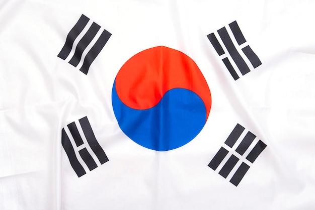 Flaga korei południowej z naturalnego materiału