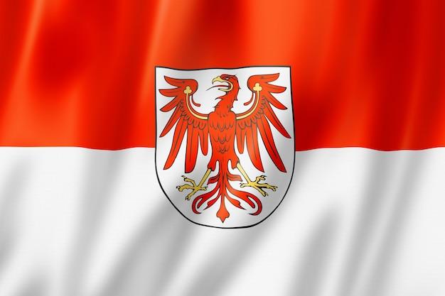 Flaga kraju związkowego brandenburgia, niemcy macha kolekcja transparentu. ilustracja 3d