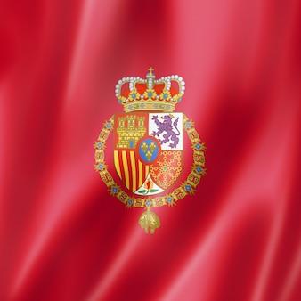 Flaga króla hiszpanii. macha kolekcja transparentu. ilustracja 3d