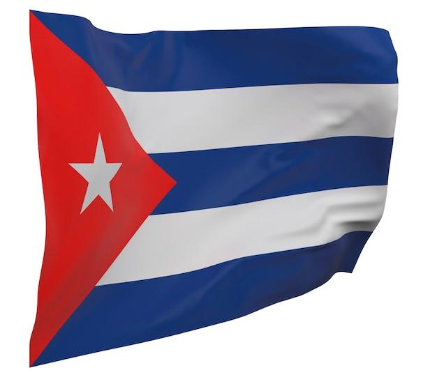 Flaga kuby na białym tle. macha sztandarem. flaga narodowa kuby