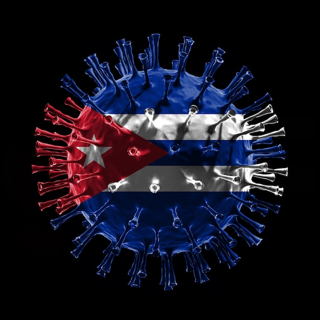 Flaga kuby na covid-19 to koncepcja wirusa. renderowanie 3d
