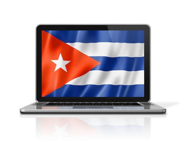 Flaga kuby na ekranie laptopa na białym tle. renderowanie 3d ilustracji.