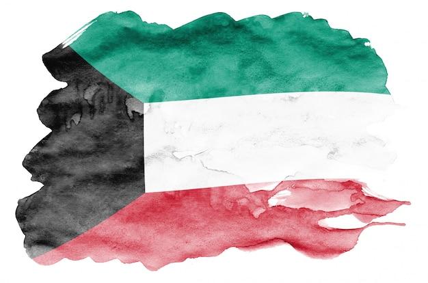 Flaga kuwejtu jest przedstawiona w płynnym stylu przypominającym akwarele na białym tle