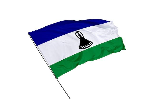 Flaga lesotho na białym tle