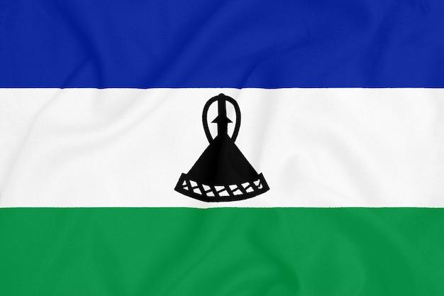 Flaga lesotho na teksturowanej tkaninie