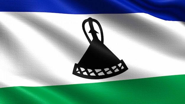 Flaga lesotho, z fakturą tkaniny macha
