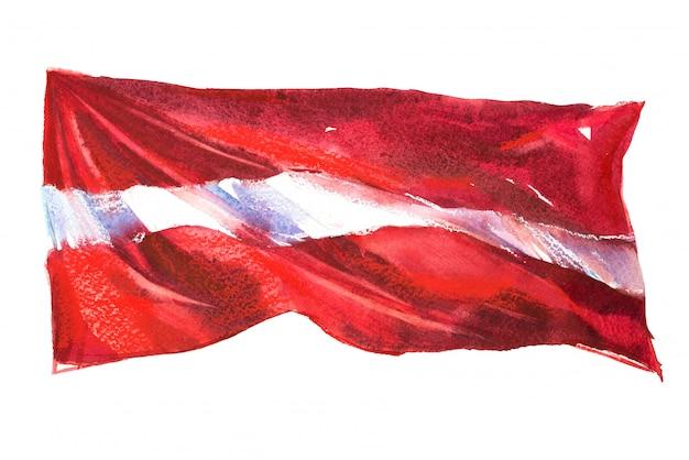 Flaga łotwy malowane w akwarele