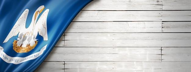 Flaga luizjany na białym tle drewna, usa. ilustracja 3d