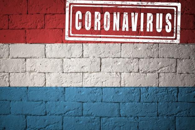 Flaga luksemburga o oryginalnych proporcjach. opieczętowane koronawirusem. cegła ściana tekstur. koncepcja wirusa koronowego. na skraju pandemii covid-19 lub 2019-ncov.