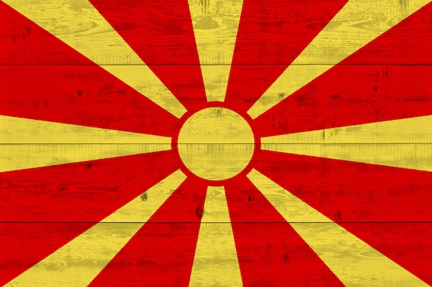 Flaga macedonii malowane na starej desce