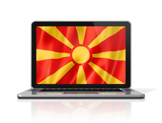 Flaga macedonii na ekranie laptopa na białym tle. renderowanie 3d ilustracji.