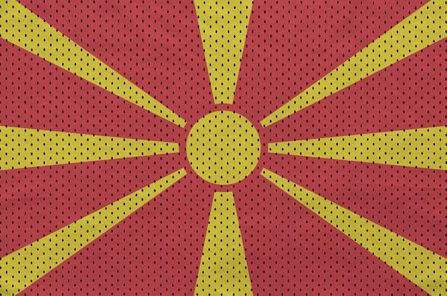 Flaga macedonii nadrukowana na siatkowej nylonowej tkaninie sportowej