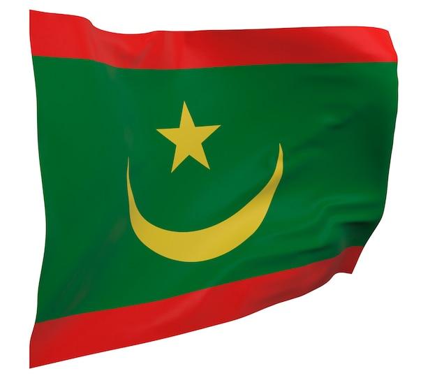 Flaga mauretanii na białym tle. macha sztandarem. flaga narodowa mauretanii