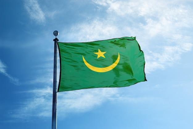 Flaga mauretanii na maszcie