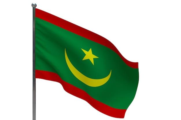 Flaga mauretanii na słupie. maszt metalowy. flaga narodowa mauretanii 3d ilustracja na białym tle