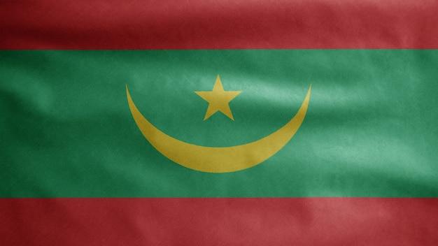 Flaga mauretanii na wietrze. baner mauretania dmuchany, miękki i gładki jedwab.