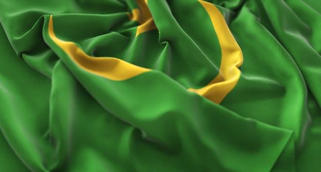 Flaga mauretanii ruffled pięknie macha makro close-up shot