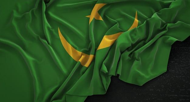 Flaga mauretanii zgnieciony na ciemnym tle renderowania 3d
