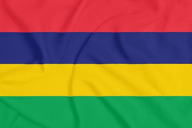 Flaga mauritiusa na teksturowanej tkaninie.