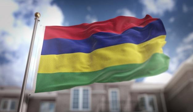 Flaga mauritiusa renderowania 3d na tle błękitne niebo budynku