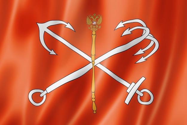 Flaga miasta sankt petersburg, rosja macha kolekcja transparent. ilustracja 3d
