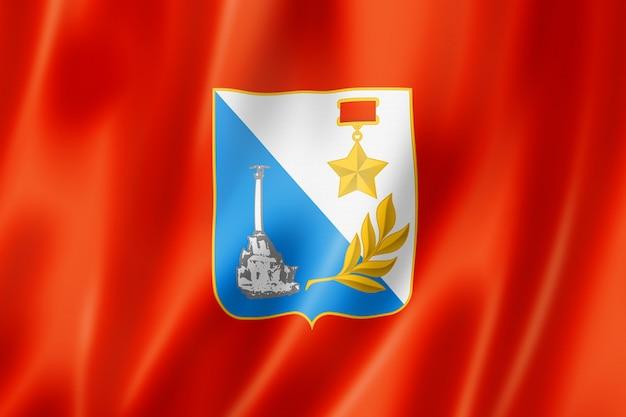 Flaga miasta sewastopol, rosja macha kolekcja transparent. ilustracja 3d