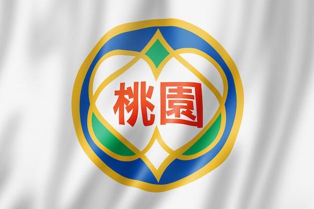 Flaga miasta taoyuan, chiny macha kolekcja transparentu. ilustracja 3d