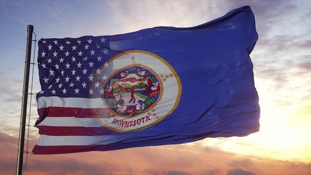 Flaga minnesoty i usa na maszcie. flaga usa i minnesoty mieszane na wietrze