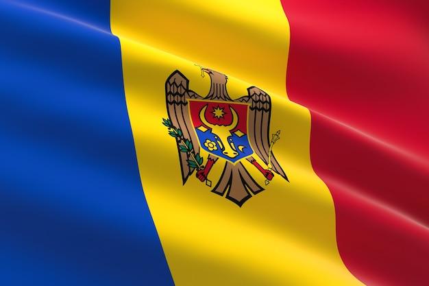 Flaga mołdawii. 3d ilustracja macha flagą mołdawii