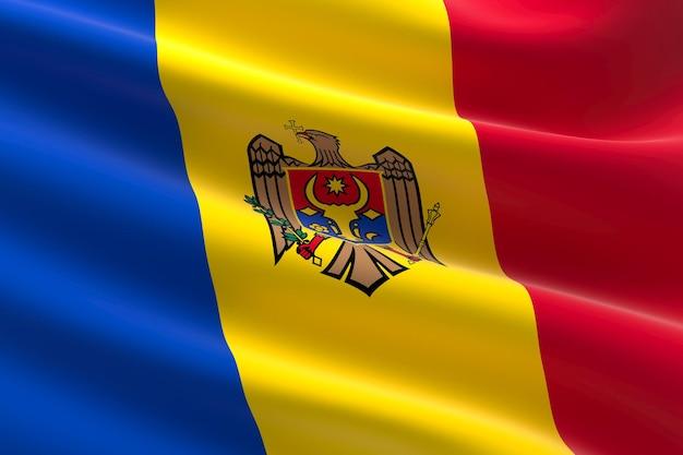 Flaga mołdawii. 3d ilustracja macha flagą mołdawii.