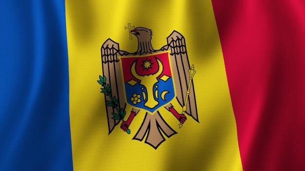 Flaga mołdawii macha zbliżenie renderowanie 3d z wysokiej jakości obrazem z teksturą tkaniny