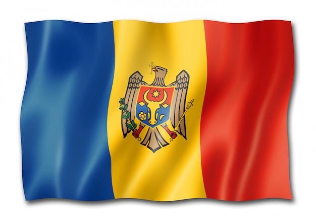 Flaga mołdawii na białym tle