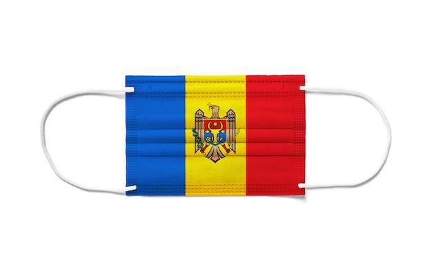 Flaga mołdawii na jednorazowej masce chirurgicznej.