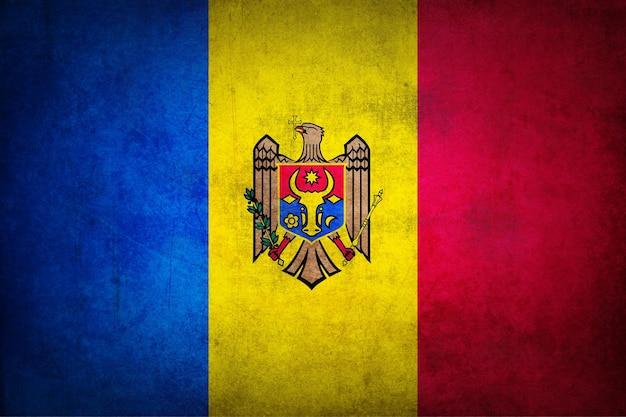 Flaga mołdawii z grunge tekstur.