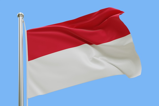 Flaga monako na masztem macha na wietrze. pojedynczo na niebieskim niebie