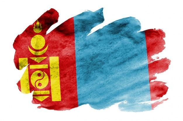 Flaga mongolii jest przedstawiona w płynnym stylu akwareli na białym tle