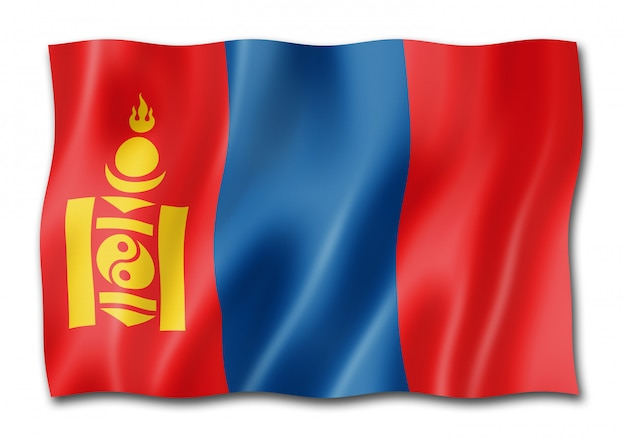 Flaga mongolii na białym tle