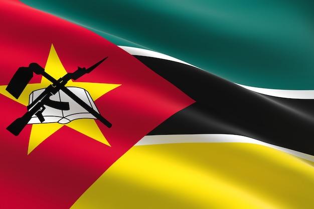 Flaga mozambiku. 3d ilustracja macha flagą mozambiku