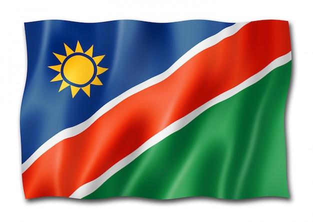 Flaga namibii na białym tle